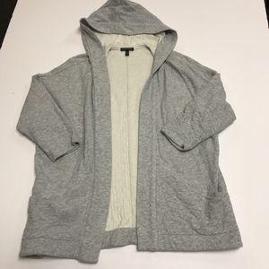 Eileen Fisher Organic Cotton Hood Sweater Cardigan